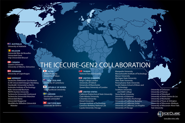 World Map showing the locations of the individual IceCube-Gen2 partners